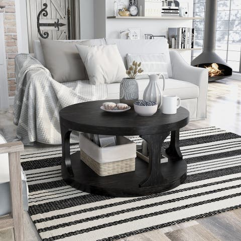 Furniture of America Nela Rustic Black Solid Wood Coffee Table