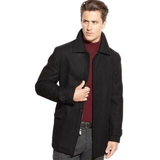 Michael Kors Hale Don Mens Black Wool Flannel Coat Large L Zip Up