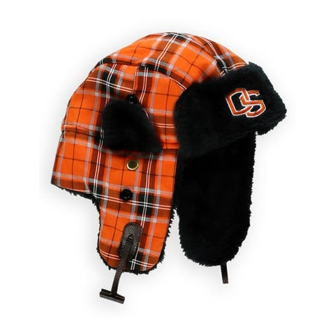 Top of the World Mens Oregon State Plaid Trapper Hat, orange, One Size - One Size