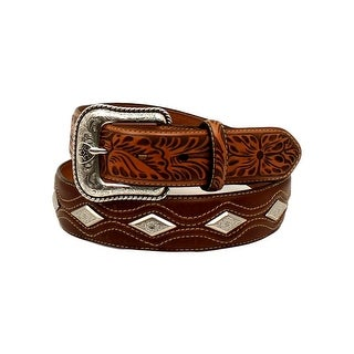 Ariat Western Belt Mens Diamond Conchos Rope Stitched Tan A1024608