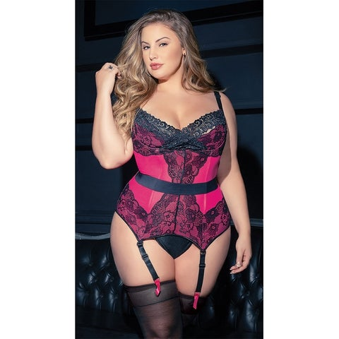 Plus Size Hot Pink And Lace Bustier - Hot Pink/Black