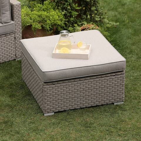 COSIEST Outdoor Furniture Add-on Ottoman For Wicker Sectional Sofa Set