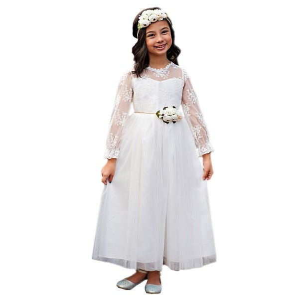 3e449f403a Girls White Bell Sleeve Layla Ankle Length Floral Sash Communion Dress