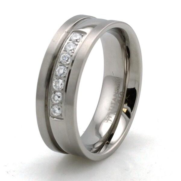 Titanium Bevel Dome Cubic Zirconia Ring