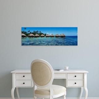 Easy Art Prints Panoramic Images's 'Beach huts on water, Bora Bora, French Polynesia' Premium Canvas Art