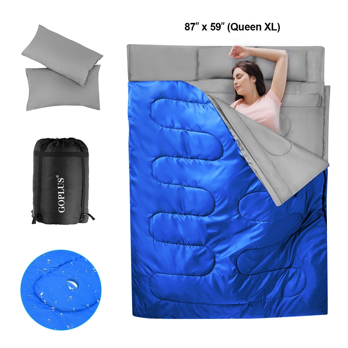 Goplus Double 2 Person Sleeping Bag Waterproof W Pillows Camping Queen Size Xl