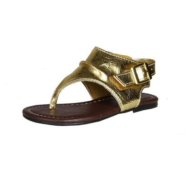 Kali Footwear Girls Aroma Jr Louch Slingback Flat Sandal - GOLD - 7 m us toddler