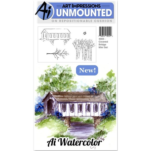 "Art Impressions Cling Rubber Stamp Sets 7""X4""-Covered Bridge"