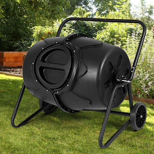 Shop Costway 50 Gallon Wheeled Compost Tumbler Garden