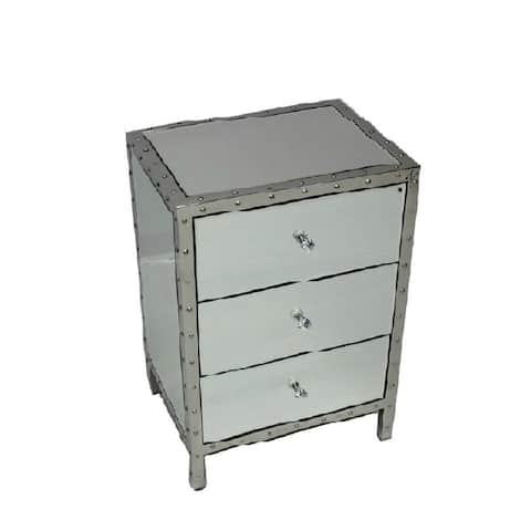 Nightstand with 3 Drawer and Stainless Steel