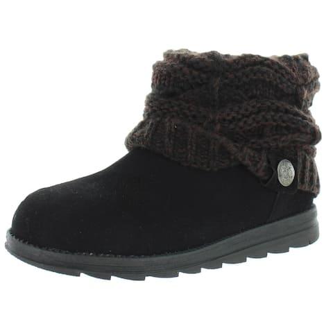 Muk Luks Womens Winter Boots Suede Ankle - Black/Brown - 6 Medium (B,M)