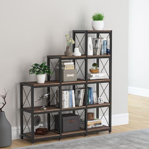12 Shelves Bookshelf, Industrial Corner Stepped Etagere Bookcase
