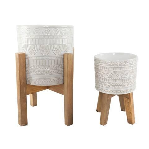 "Mid-Century 10"" & 8"" Aqueduct Ceramic Planter on Wood Stand Set of 2"