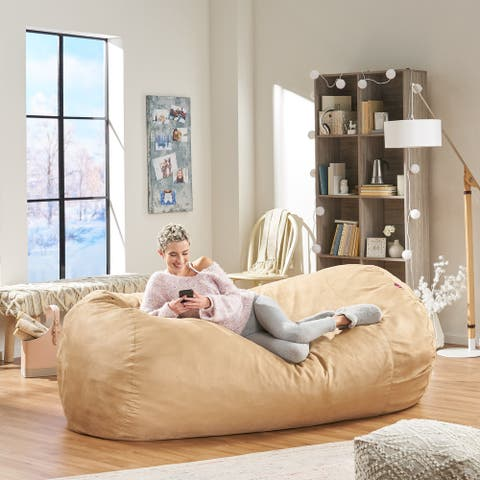 Baron Traditional 8 Foot Suede Bean Bag (Cover Only) by Christopher Knight Home