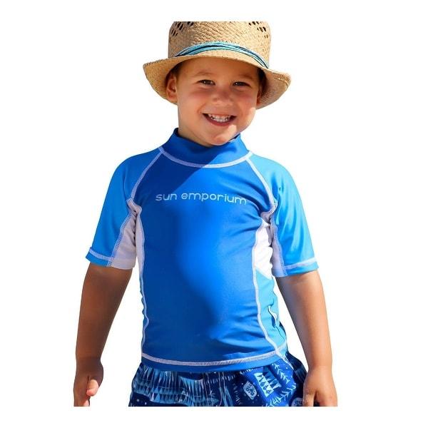 Sun Emporium Baby Boys Royal Azure Multi Panel Short Sleeve Rash Guard