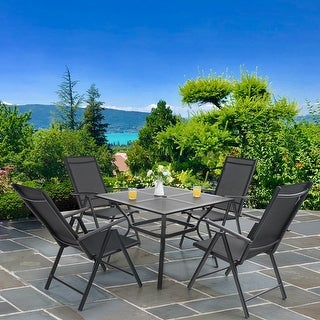 Link to PHI VILLA Sling Fabric/ Powder-coated Steel 5-piece Dining Set Similar Items in Outdoor Dining Sets