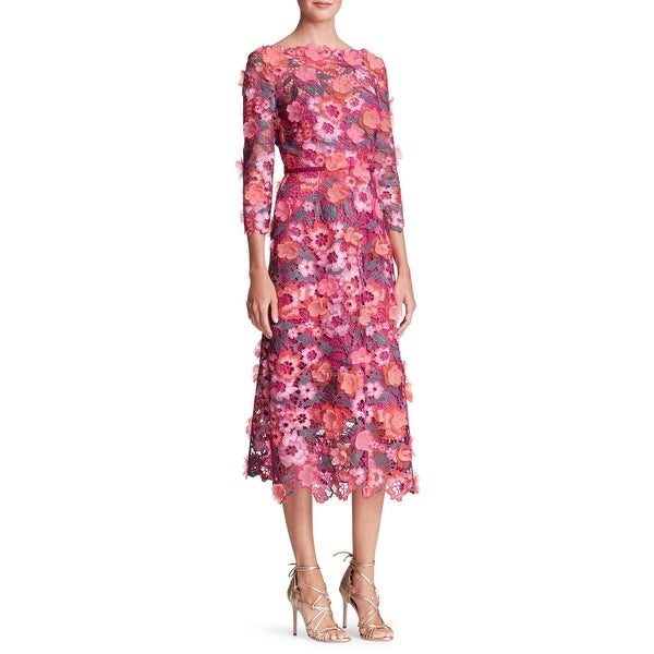 fc4c29825fa Shop Marchesa Notte Lace Floral Embellished 3/4 Sleeve Midi Cocktail Dress  Berry - 10 - Free Shipping Today - Overstock - 25583221