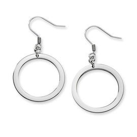 Chisel Stainless Steel Polished Circle Dangle Earrings