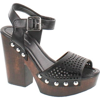 Mark And Maddux Antonio-04 Wood Platform Women's Clog Sandals In Black