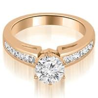 1.20 cttw. 14K Rose Gold Channel Set Princess Cut Diamond Engagement Ring,HI,SI1-2