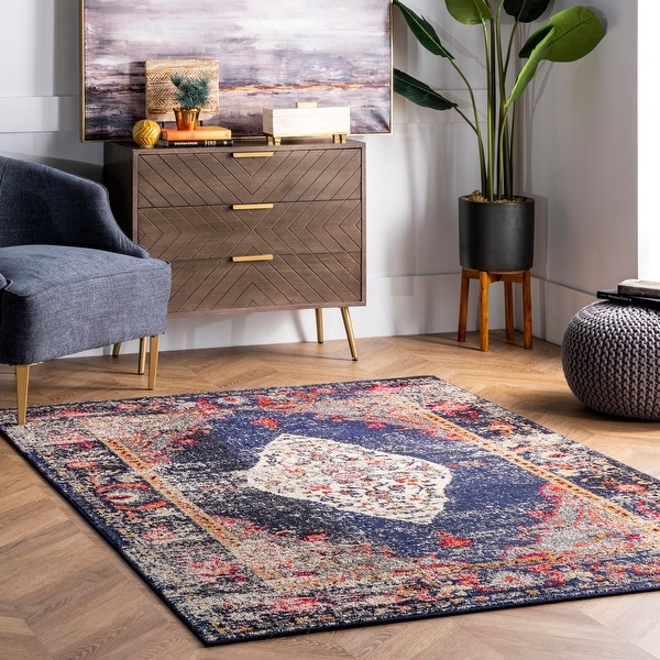 nuLOOM Traditional Distressed Medallion Area Rug. Opens flyout.
