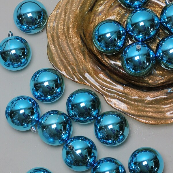 """32ct Turquoise Blue Shatterproof Shiny Christmas Ball Ornaments 3.25"""" (80mm)"""