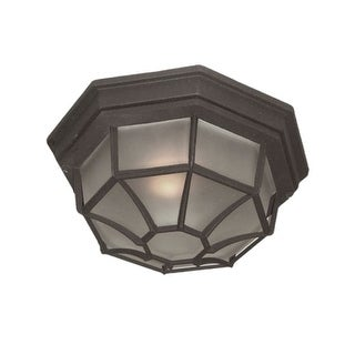 "Woodbridge Lighting 60006 1 Light 11"" Wide Single Flush Mount Outdoor Ceiling Fixture with Frosted Glass Shade"