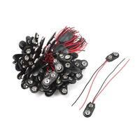 Unique Bargains Black Red Double Cable Connection 9V Battery Clips Connector Buckle 100 Pcs
