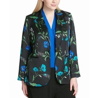 Calvin Klein Women's Jacket Black Size 24W Plus One Button Floral