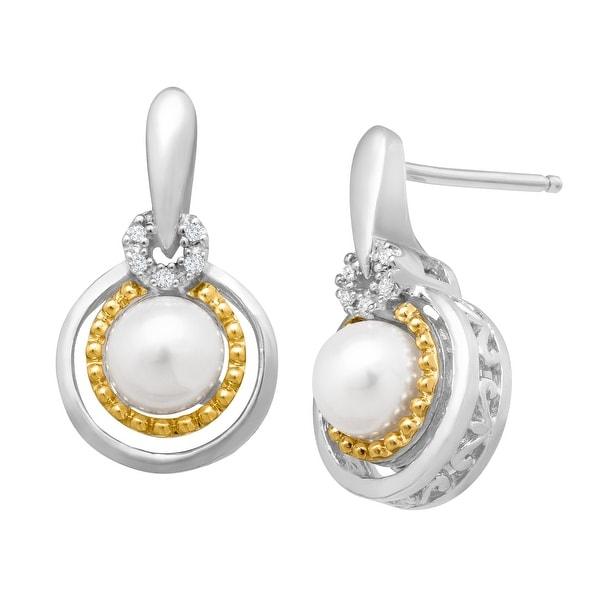 Freshwater Pearl Drop Earrings with Diamonds in Sterling Silver and 14K Yellow Gold
