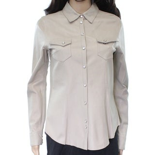 Eleventy NEW Beige Women's Medium M Snap-Front Shirt Pocket Leather