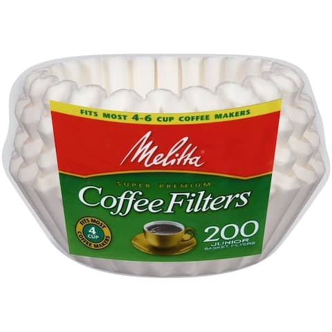 Melitta 4-6 Cup Jr. Basket Paper Coffee Filters White, 200 Count, 2 Pack