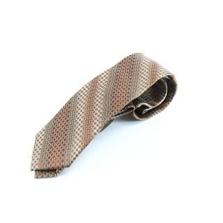 XMI Platinum NEW Brown Micro Grid Geometric Men's Neck Tie Silk