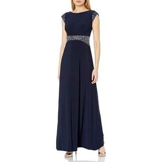 Alex Evenings Womens Dress Navy Blue Size 8 Beaded Waist Sequin Gown