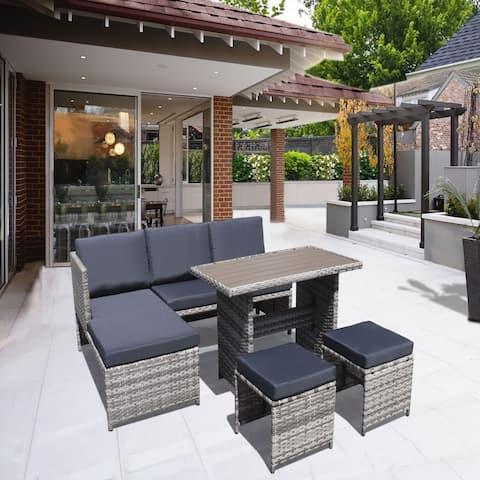 Moda Furnishings Outdoor 6-piece Steel Wicker Sofa Set