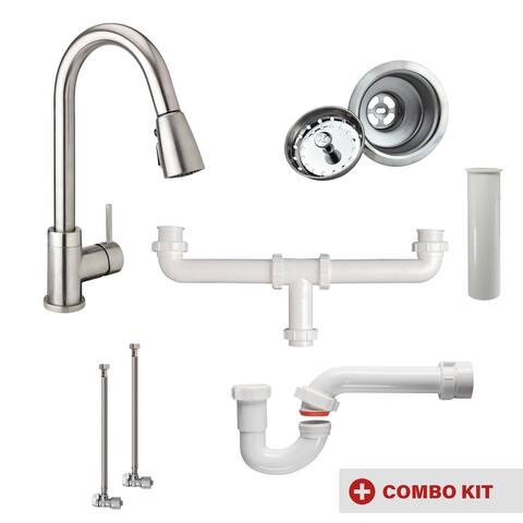 Keeney MK-URB78CBN-DB Double Bowl Kitchen Kit with Urbania Faucet, Brushed Nickel