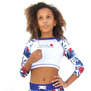 Azul Little Girls White Red Blue Hawaii Long Sleeve Crop Rash Guard