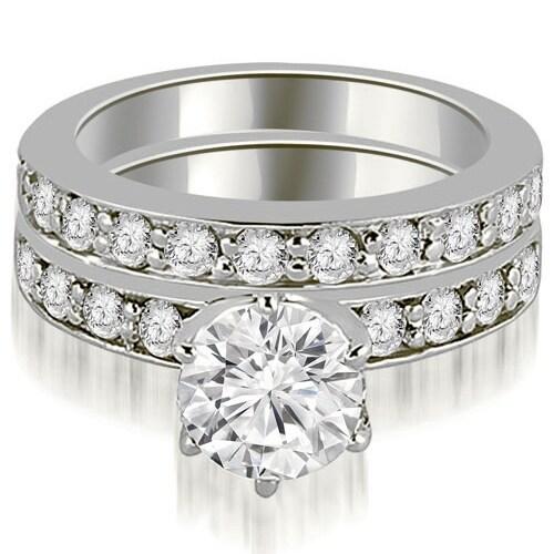 1.70 cttw. 14K White Gold Round Cut Diamond Engagement Matching Set