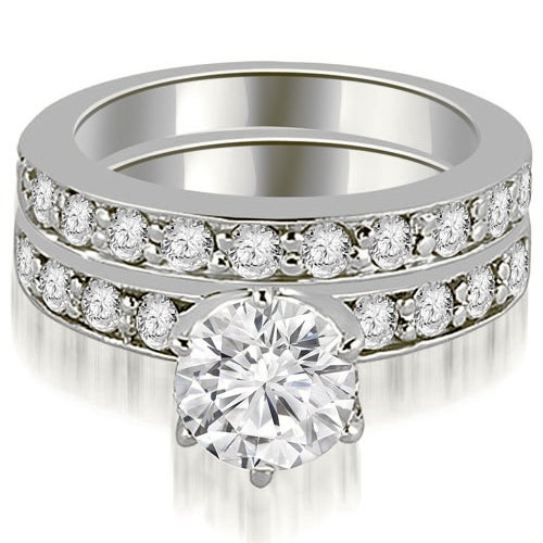 1.95 cttw. 14K White Gold Round Cut Diamond Engagement Matching Set