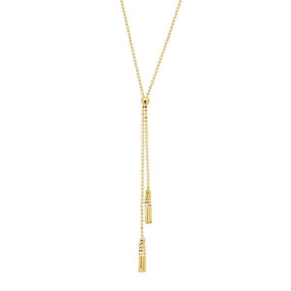 Eternity Gold Beaded Double Tassel Lariat Necklace in 14K Gold - Yellow