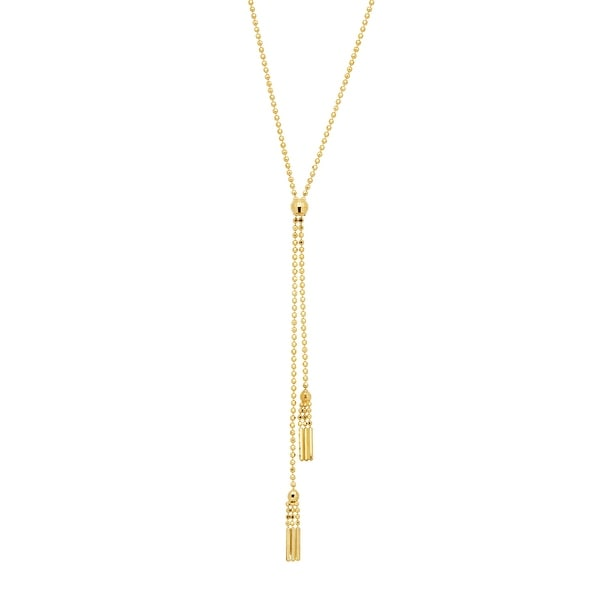 Just Gold Beaded Double Tassel Lariat Necklace in 14K Gold - Yellow