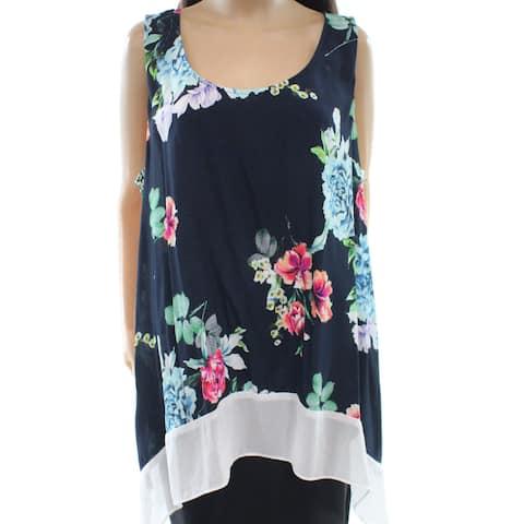 Karen Kane White Women's Plus Floral-Print Tank Top