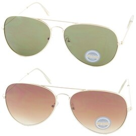Aviator Sunglasses Bundle Metal Frame Gradient Brown Green Lens