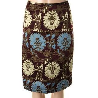 Catherine Malandrino Womens Satin Metallic Pencil Skirt - 2