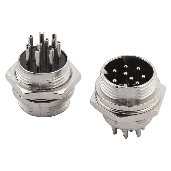 DIY Metal GX16 8 Pin Aviation Plug Socket Connector 20mm Long 2pcs
