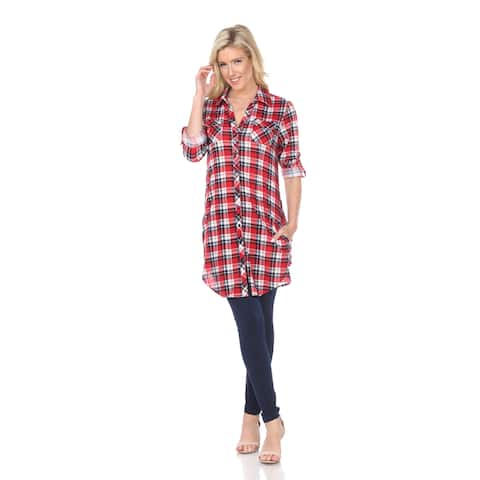 Piper Plaid Tunic Top - Red/Blue