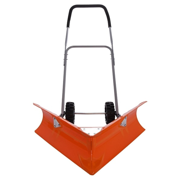 Ivation Dual Angle Snow Pusher, Manual Push Plow for Walkways, Sidewalks, Stoops, Decks, Patios & More
