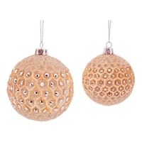 """6ct Luxury Lodge Peach Frosted Jeweled Glass Christmas Ball Ornaments 3.5"""" - 4.25"""" - ORANGE"""