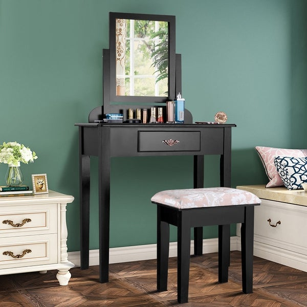 Costway Makeup Desk Vanity Dressing Table Set W Square Mirror Stool 1 Large Drawer Black