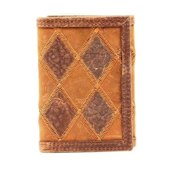 Nocona Western Wallet Mens Trifold Patchwork Brown - One size